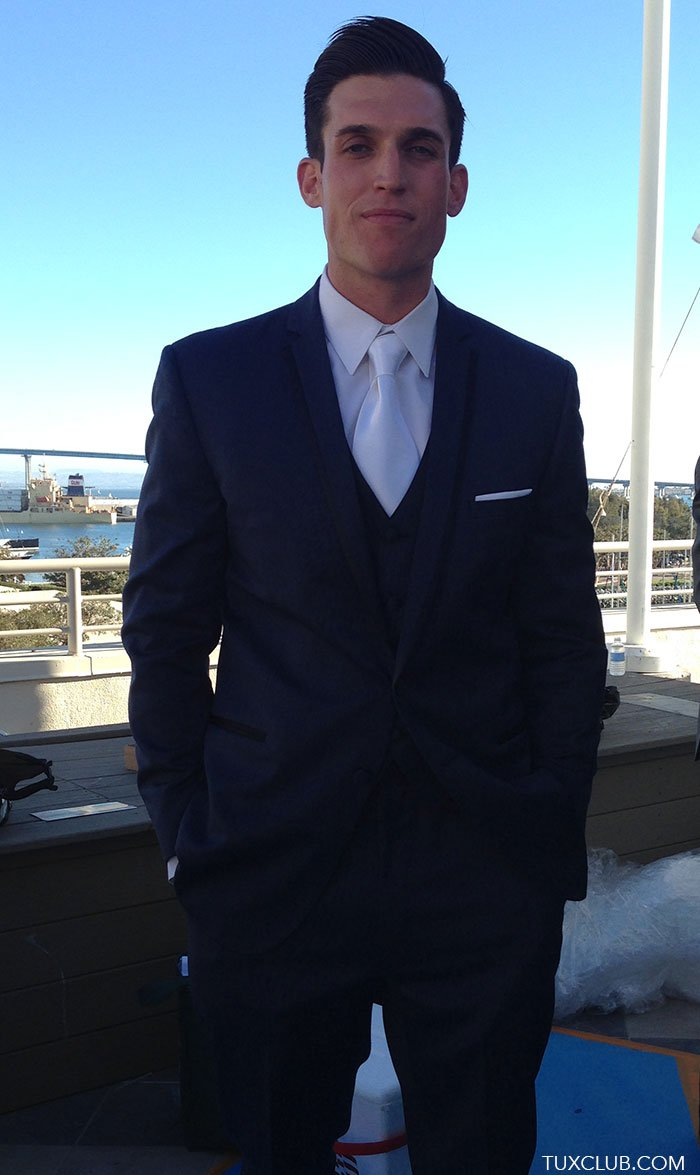 Medium Navy Blue Tuxedo With Matching Blue Vest And White