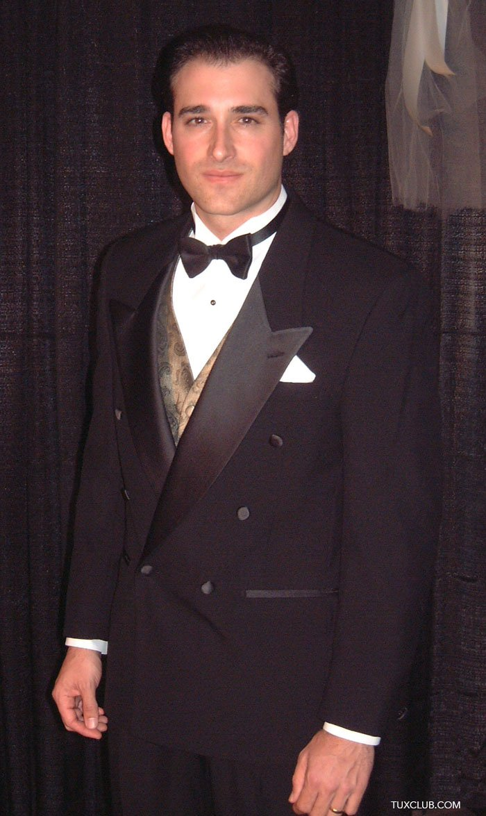a8feb74a371 Double Breasted Peak Lapel with Satin Bow Tie