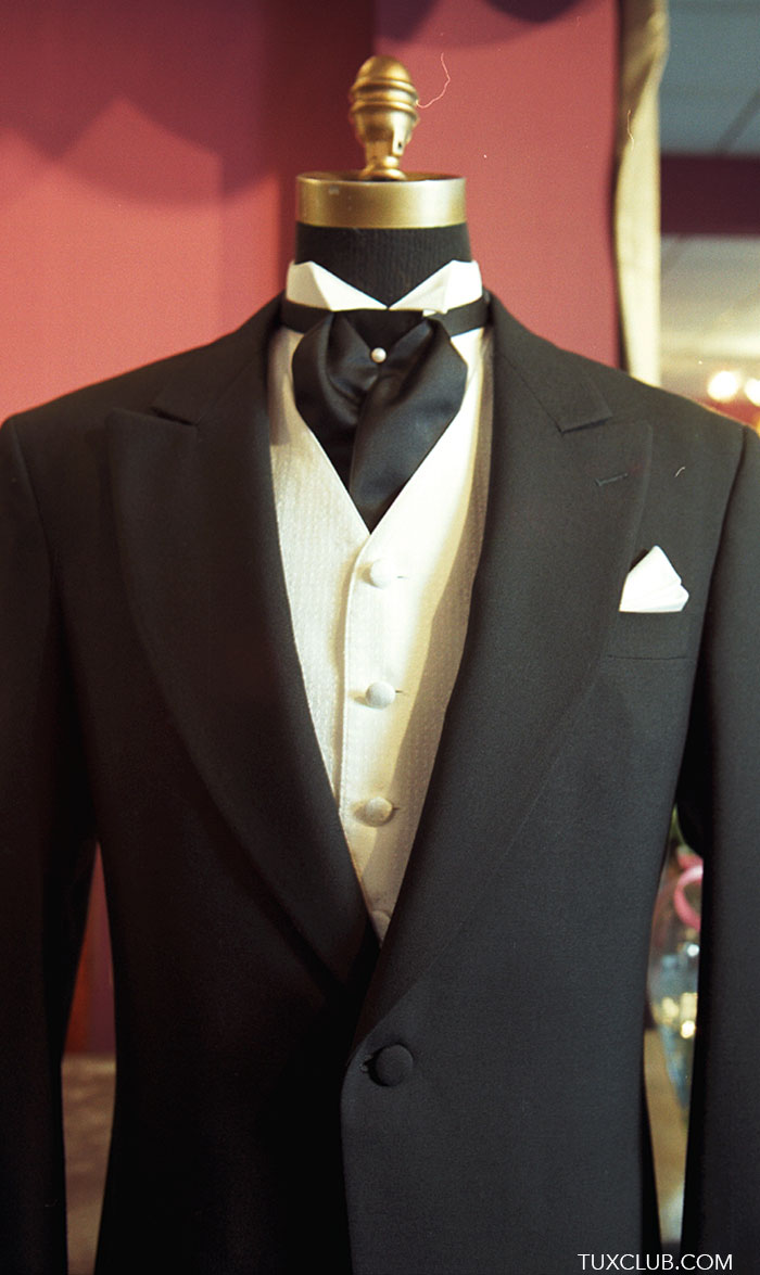 Black Cutaway With White Vest And Black Satin Ascot Tux