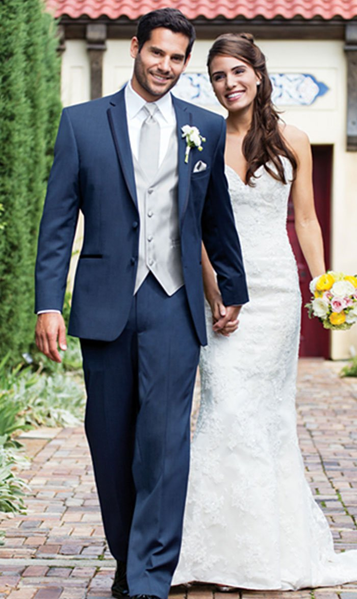 Blue Dress Notch With Platinum Vest Tie And Long Tux Lapel Tuxedo VpGLUzSMq