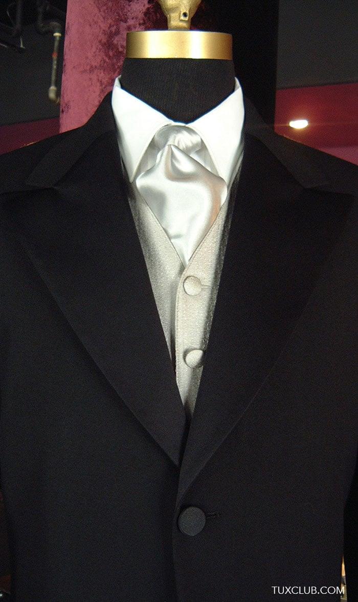Long Tux With Black Woven Vest And Black Long Dress Tie