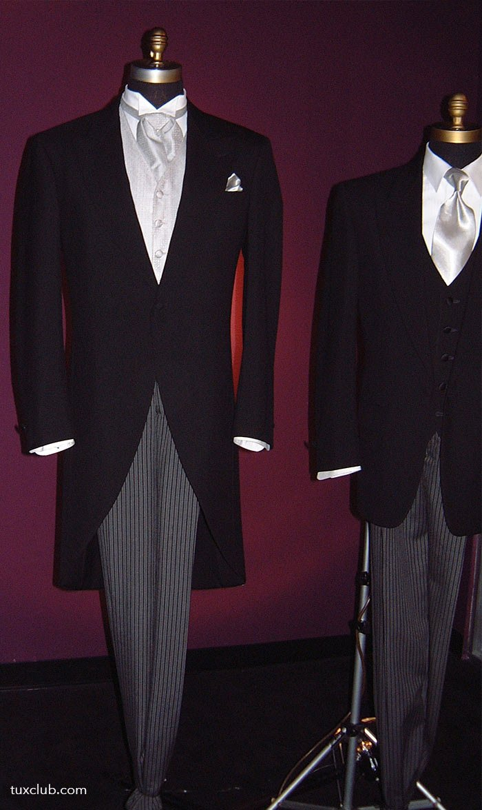 Black Cutaway With Platinum Vest And Platinum Ascot Tux Shop Tuxedo Rentals Suit Rentals