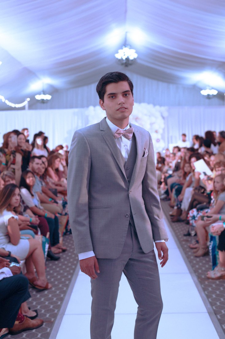 Light Gray Men's Wedding Suit, slim fit, 3 piece