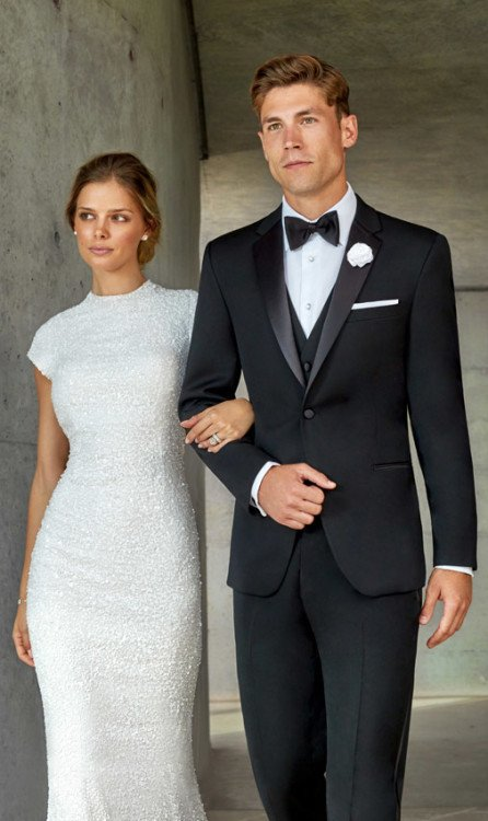 Black Slim Fit Tuxedo Rental Notch Lapel