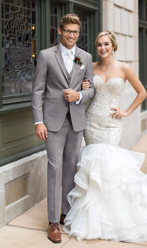 Light Gray Allure Suit with Matching Vest and White Dress Shirt and ...