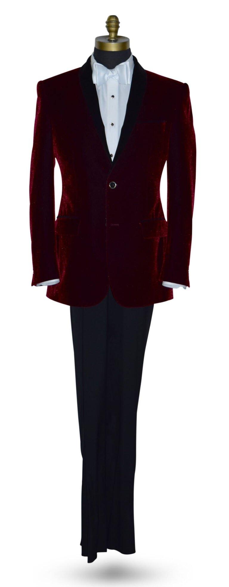 Burgundy Velvet Tuxedo Jacket