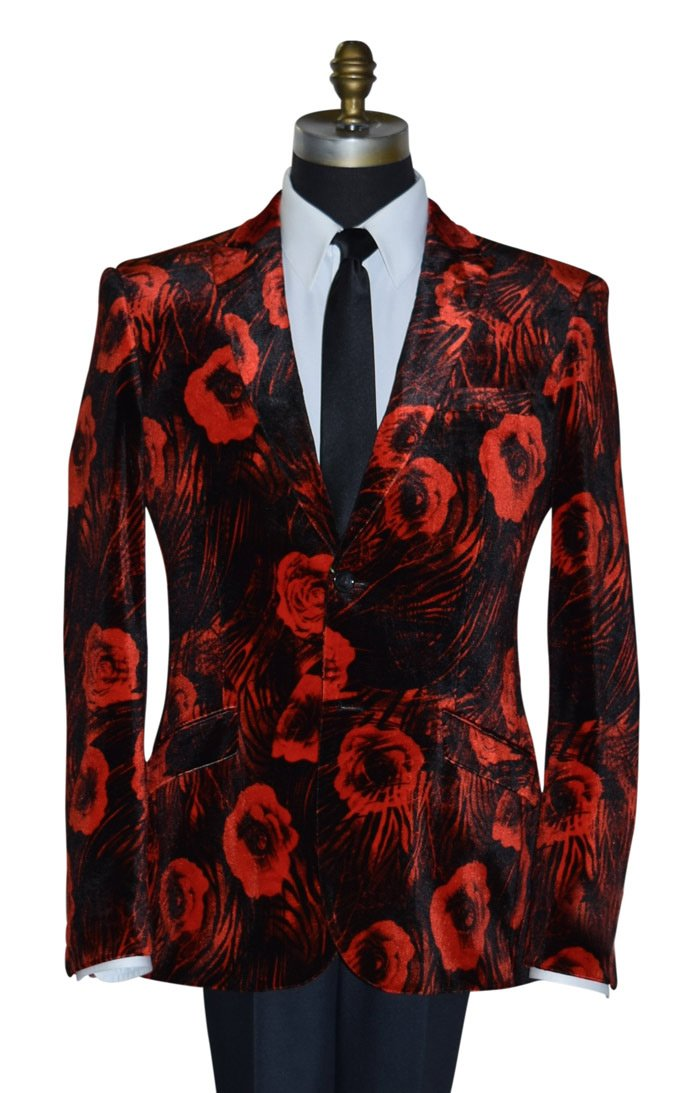 Red Velvet Tuxedo Jacket with Floral Print