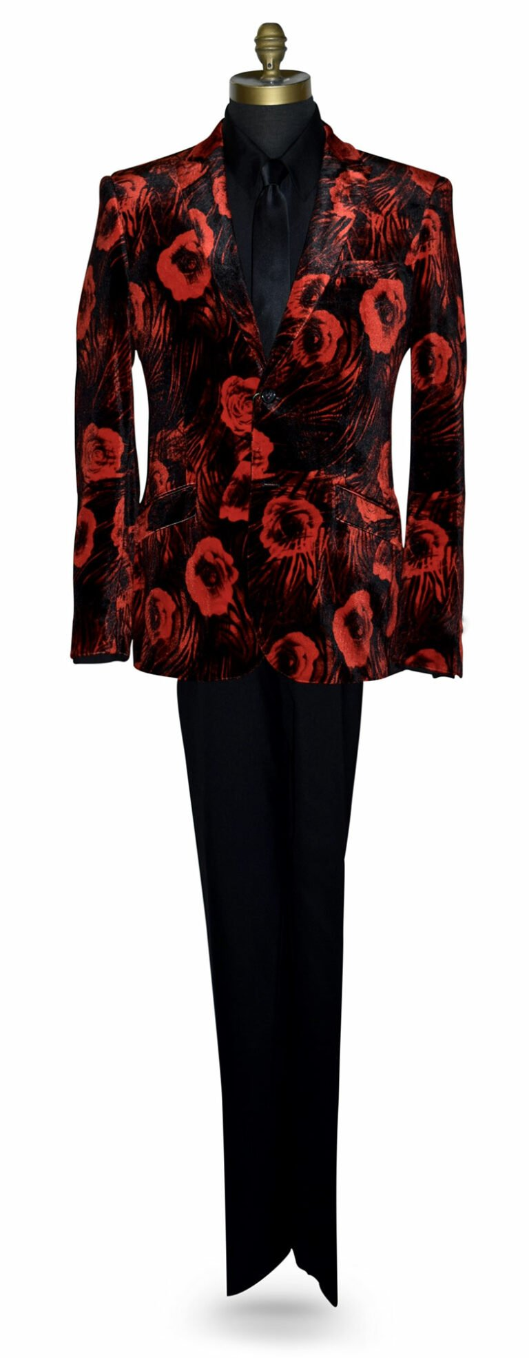 Red Velvet Tuxedo Jacket with Floral Print