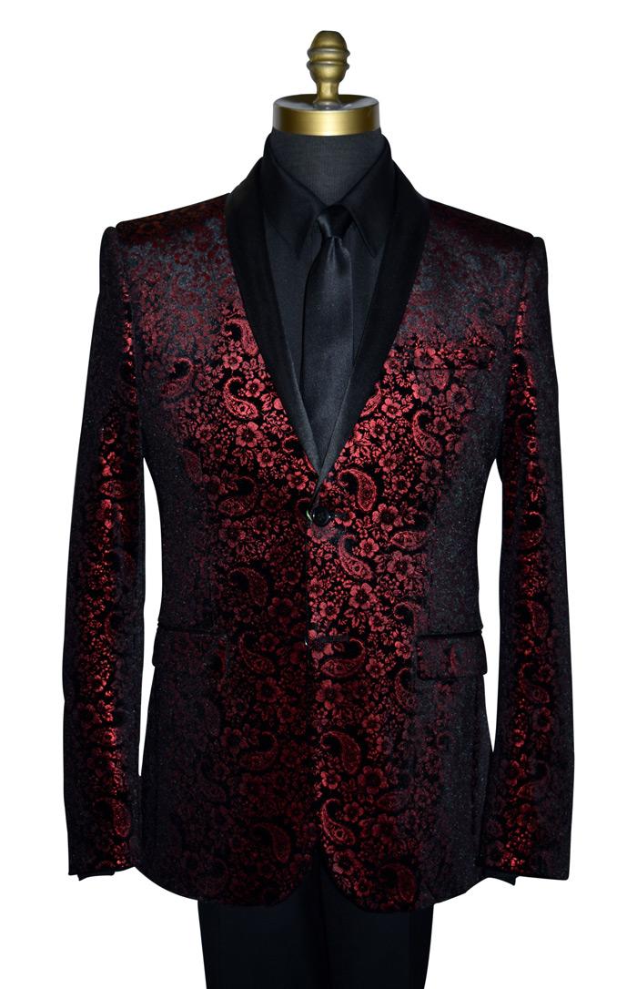 Red Velvet Tuxedo Jacket with Paisley Print