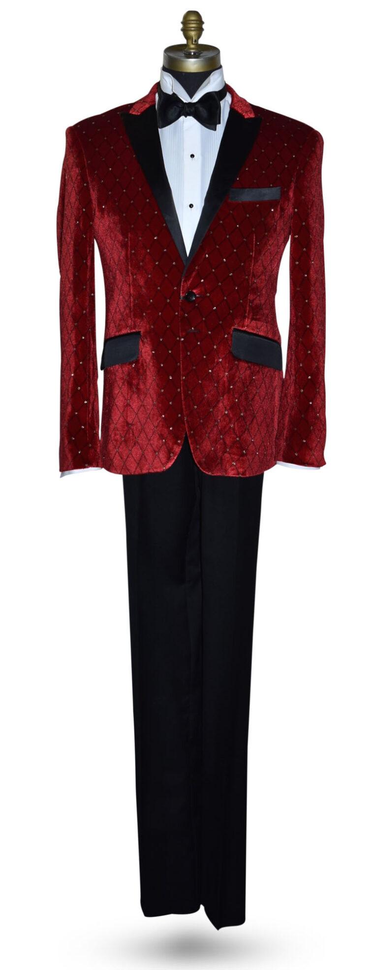 Red Velvet Tuxedo Jacket with Black Diamond Print