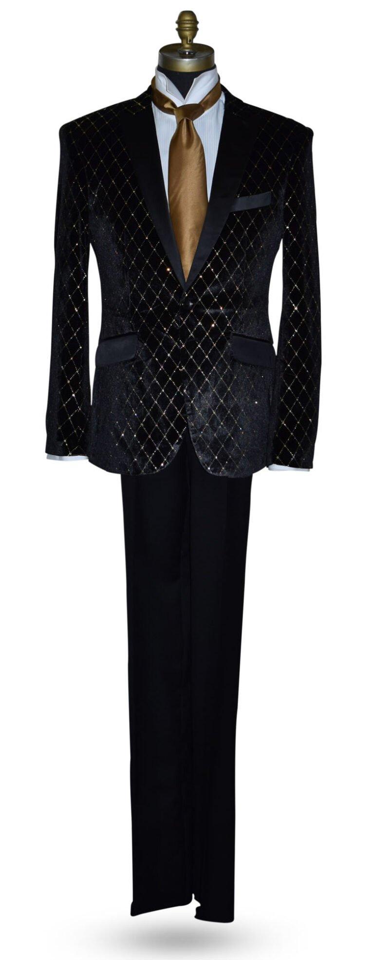 Black Velvet Tuxedo with Gold Diamond Print