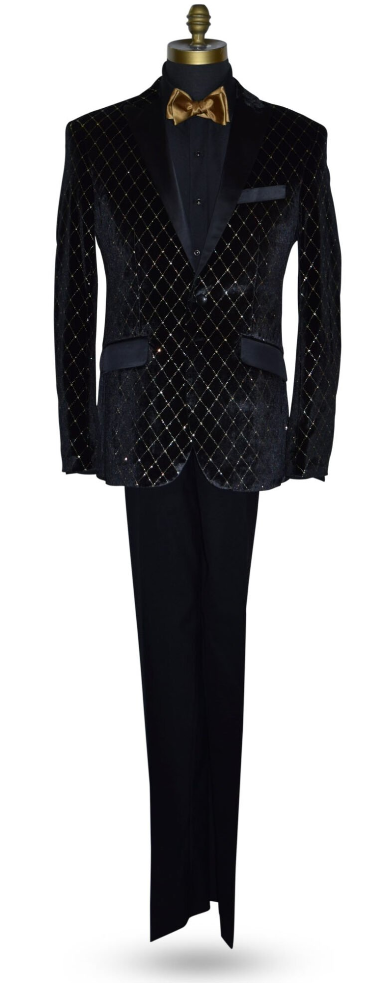 Black Velvet Tuxedo Jacket with Gold Diamond Print