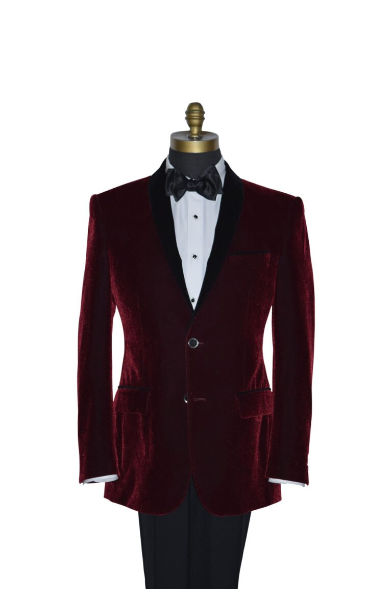 Burgundy Velvet Tuxedo Jacket with Black Lapel