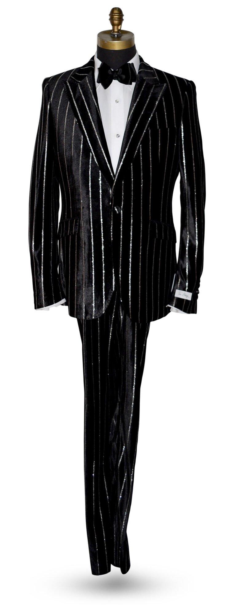 Black Velvet Tuxedo with Silver Stripes
