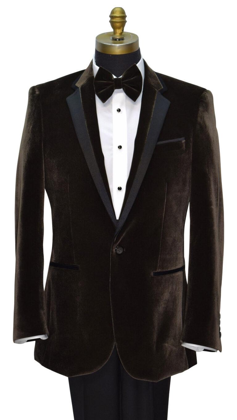 Brown Velvet Tuxedo Jacket with Black Lapel