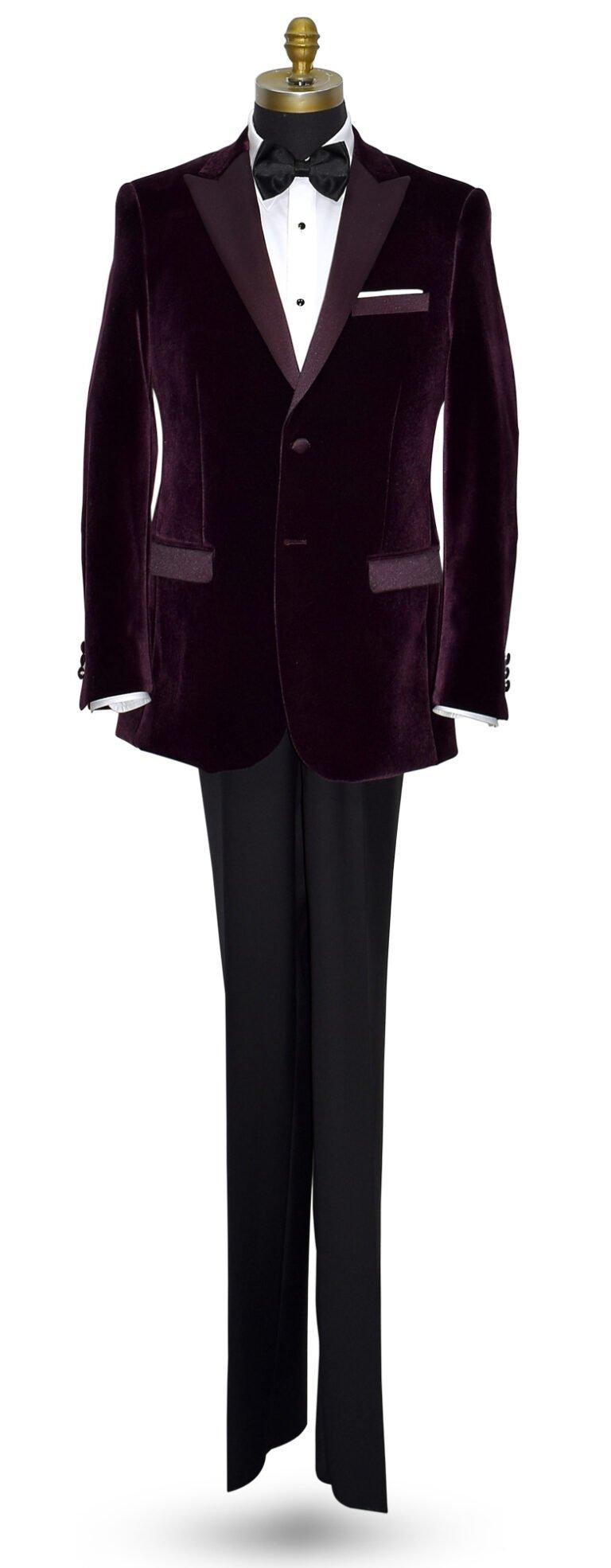 Plumb Velvet Tuxedo Jacket