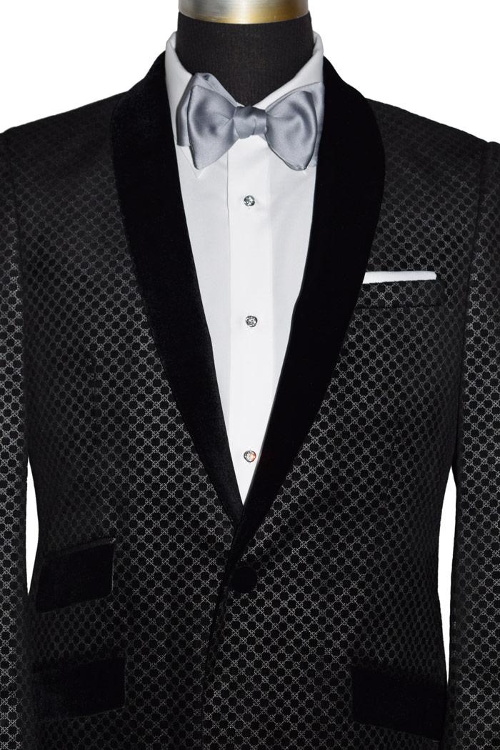 Black Velvet Tuxedo with Geometric Print