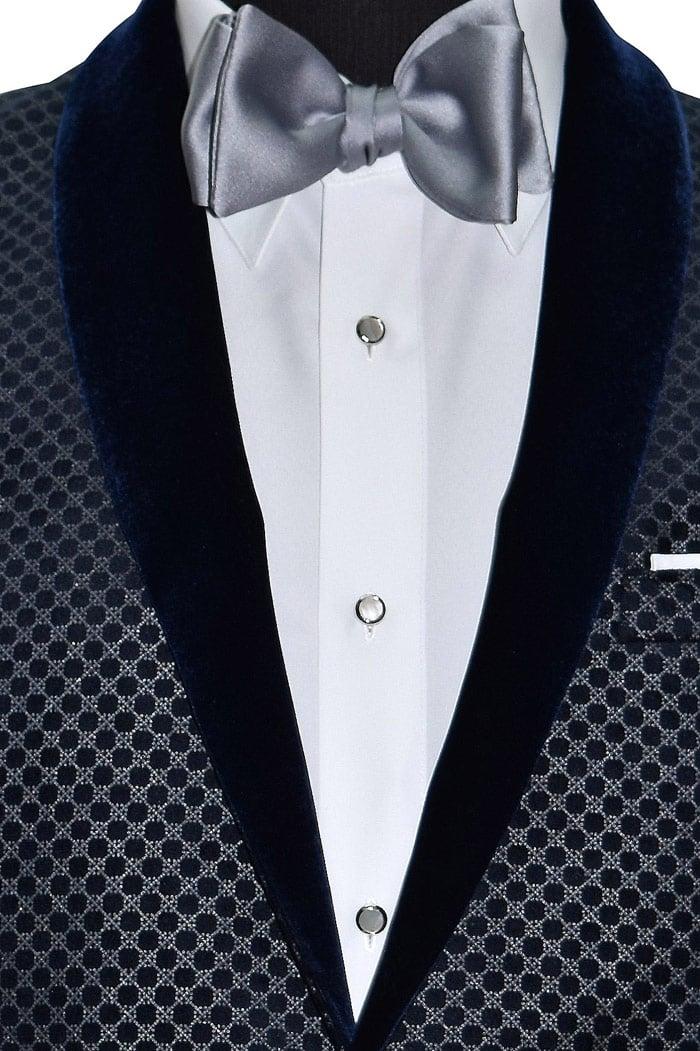 Blue Velvet Tuxedo Jacket with Geometric Print