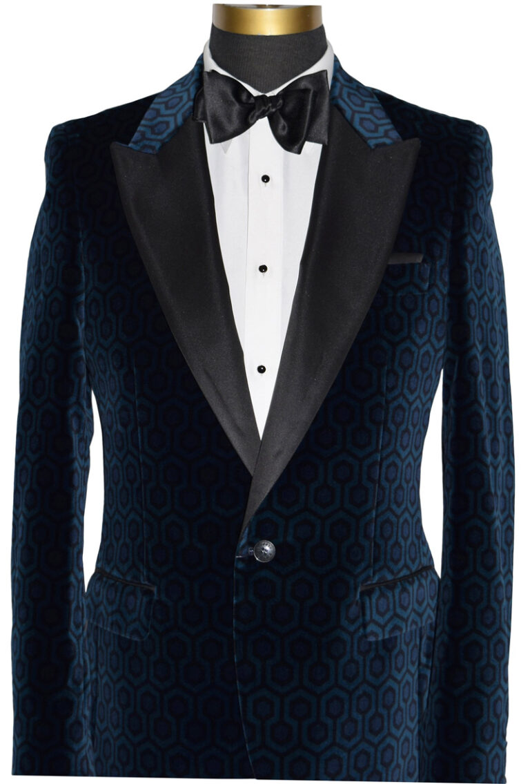 Blue Velvet With Geometric Print and Black Lapel