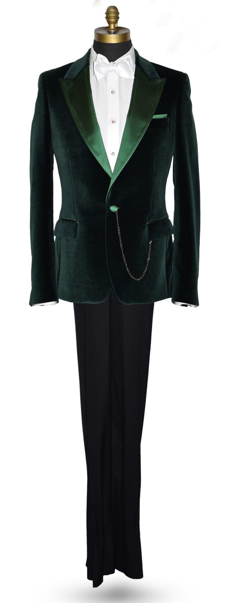 Forest Green Velvet Tuxedo Jacket