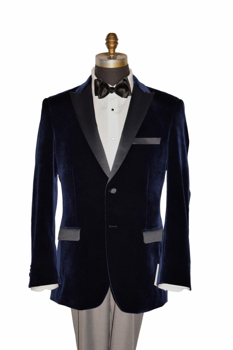 Midnight Blue Velvet Tuxedo with Black Lapel
