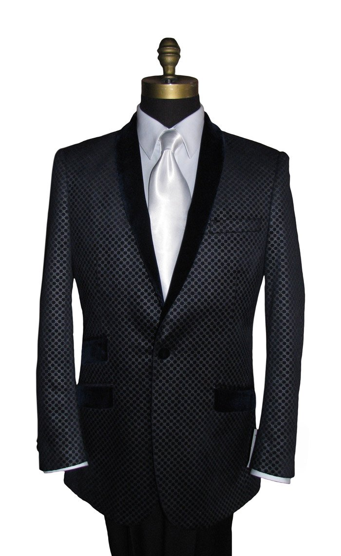 Black Velvet Tuxedo Jacket with Geometric Print
